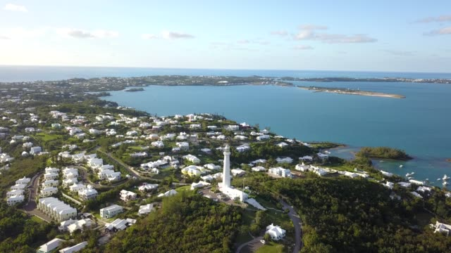 The drone aerial footage of Bermuda island and the Gibbs hill lighthouse