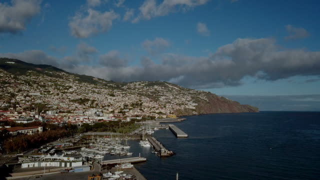 vídeos de stock e filmes b-roll de the drone aerial footage of  funchal, madeira island, portugal - funchal madeira