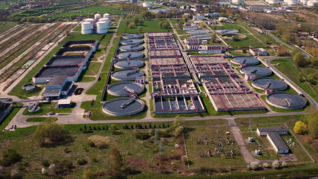 The drone flies over the sewage treatment plant in Gdańsk.