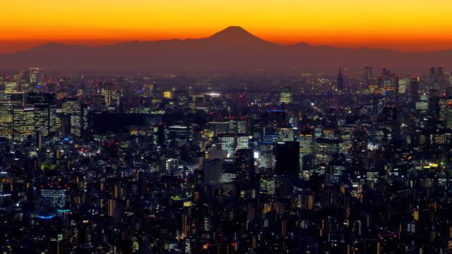 日本の東京の街の夜景 ビデオ