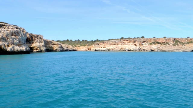 The East Coast of Mallorca Island Red Cliffs, Caves, Small Bays And Emerald Sea video