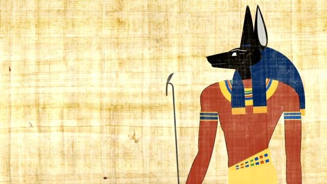 The Egyptian God Of Death Anubis On A Papyrus Background video