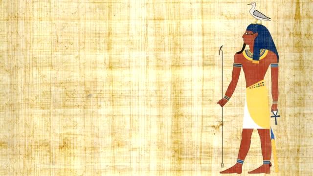 El dios egipcio del Geb de la tierra sobre un fondo papiro - vídeo