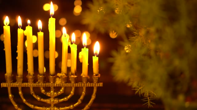 The eighth Night of Hanukkah. Eight lights in the menorah Chanukah is the Jewish Festival of Lights hanukkah stock videos & royalty-free footage
