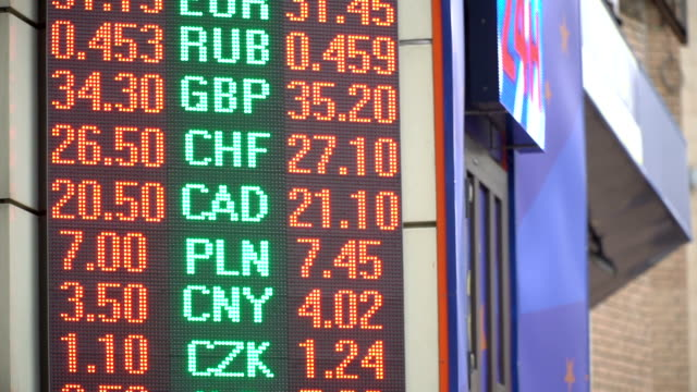 The electronic display on the street shows the exchange rate of different countries. Close-up video