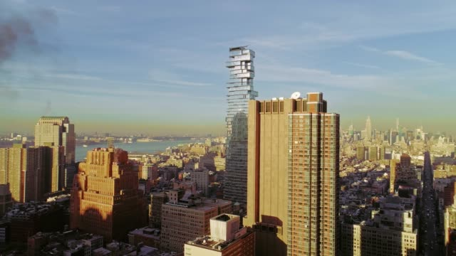 The elevated panoramic view of Manhattan Downtown, New York City video