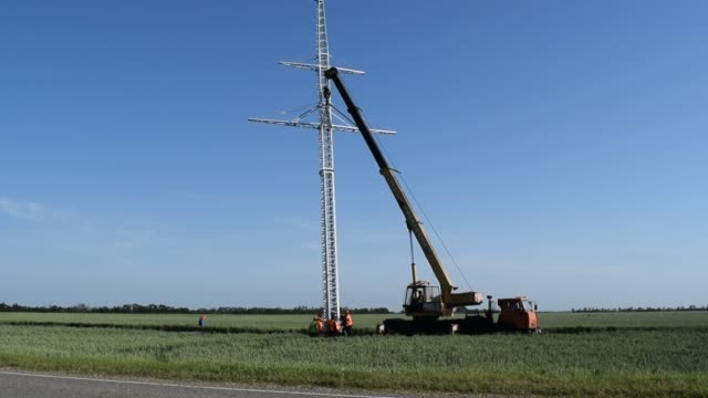 The elevator crane. The elevator crane on a truck platform. video