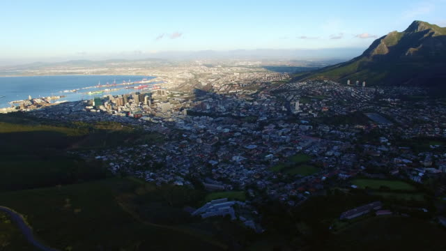 The end of the day over the city bowl Aerial drone footage of Cape Town, South Africa hovering stock videos & royalty-free footage