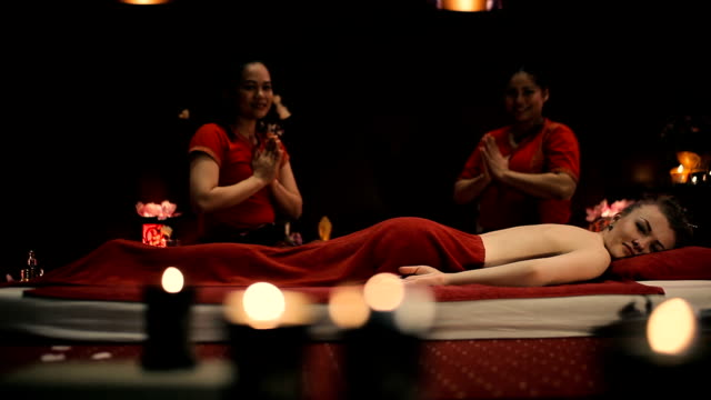 The end of the session of Thai massage video