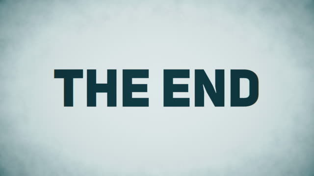 The End text 4 k colorful digital glitch animation with 2d shapes