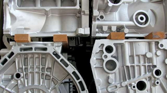 The engine blocks of the cars machine video