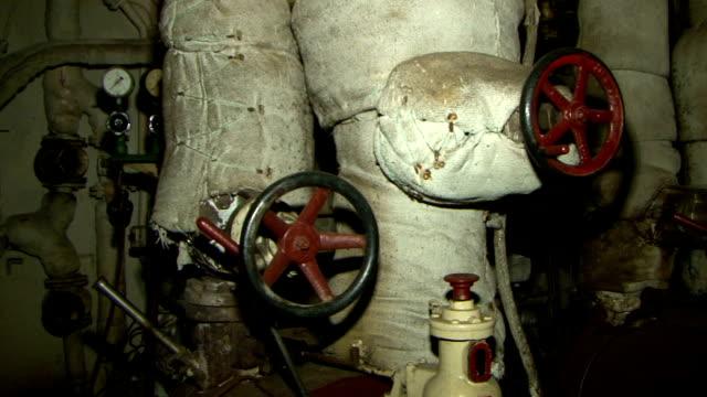 maszynownią statku, - ster fragment pojazdu filmów i materiałów b-roll