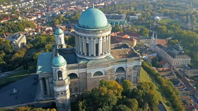 The Esztergom Basilica in Esztergom, Hungary Aerial view of the Esztergom Basilica in Esztergom, Hungary hungary stock videos & royalty-free footage