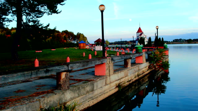 The evening embankment above the river video