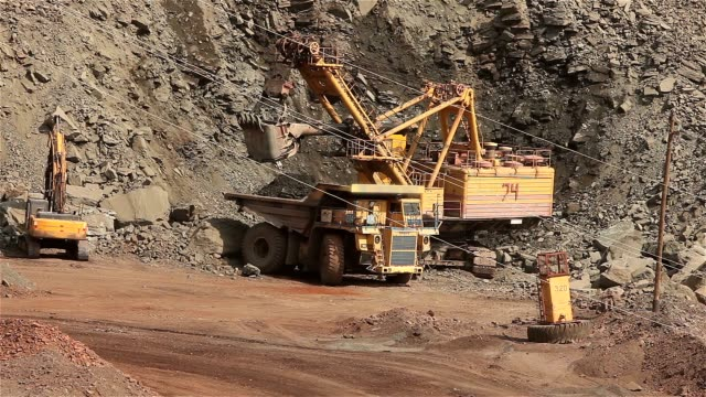 The excavator and dumper in the quarry, Large yellow excavator loaded ore into a dumper, Industrial exterior video