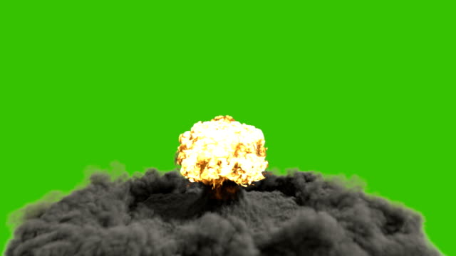 vídeos de stock e filmes b-roll de the explosion of a nuclear bomb. realistic 3d animation of atomic bomb explosion with fire, smoke and mushroom cloud in front of a green screen. - apocalipse