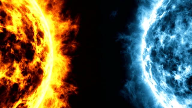 宇宙の惑星の表面の爆発は熱と風邪の間の競争 - 戦い点の映像素材/bロール
