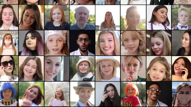 The faces of happy European and Latin American people of all ages and professions. Multi-screen editing, collage portraits. The faces of happy European and Latin American people of all ages and professions. Multi-screen editing, collage portraits. People concept mosaic stock videos & royalty-free footage