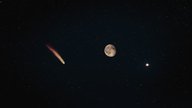 the falling comet on the moonlight sky background. hyper lapse - jowisz filmów i materiałów b-roll