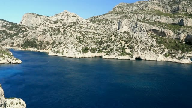 The famous creeks of Marseille. Sormiou. France. It is a succession of coves dug in white limestone and extending over more than twenty kilometers of coastline on the Mediterranean Sea. provence alpes cote d'azur stock videos & royalty-free footage