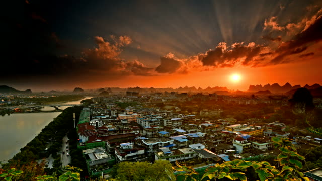 The famous karst city in sunset clouds video