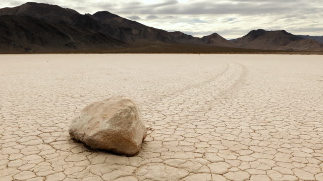 The Famous Race Track in Death Valley The famous moving rocks in Death Valley salt flat stock videos & royalty-free footage