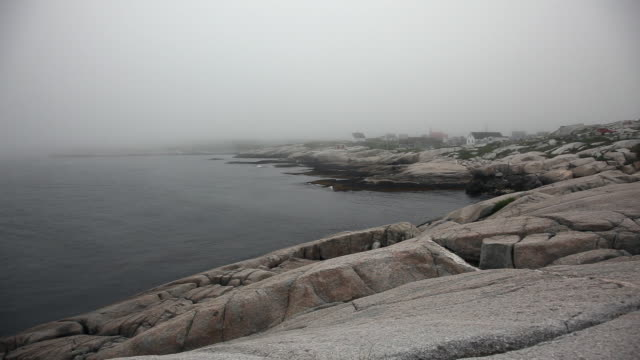 Video The famous rocks on a foggy day at the landmark Peggy's Cove
