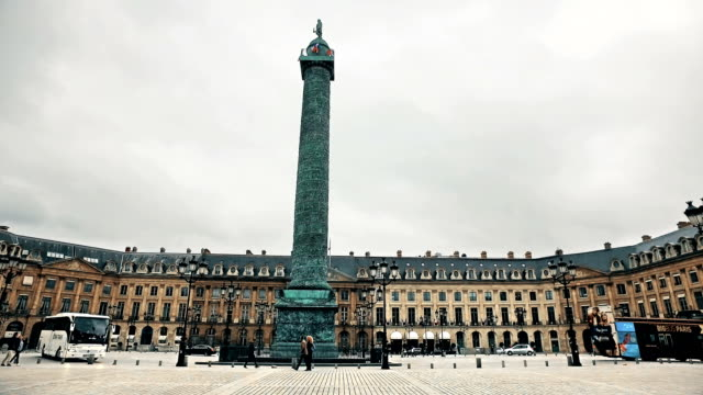 the famous vendome square with the bronze column commemorating napoleon's victory at austerlitz, cinematic steadicam view - paris fashion stock videos & royalty-free footage