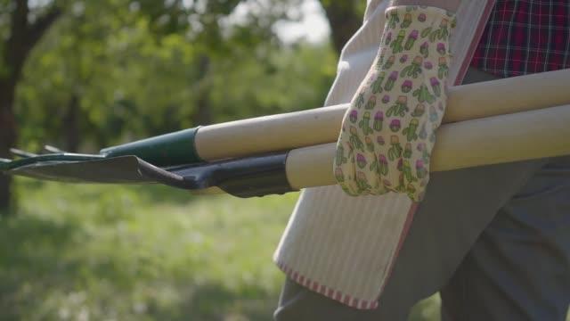jordbrukaren i trädgården handskar går genom trädgården med en spade och pitchfork i händerna närbild. - skyffel bildbanksvideor och videomaterial från bakom kulisserna