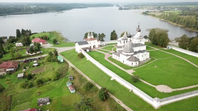 The Ferapontov Monastery. Borodaevsky Lake. Russian landscape video