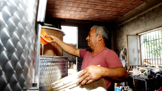 the fermentation of homemade wine- South of Italy video