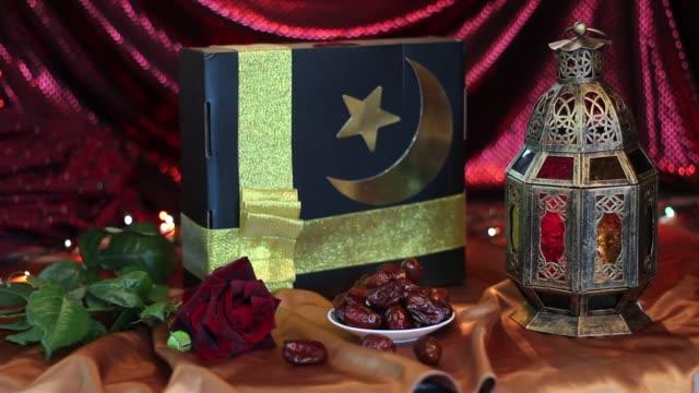 den festival av eid al-adha. muslimska gåva. hajj mubarak gåvor - eid ul adha bildbanksvideor och videomaterial från bakom kulisserna