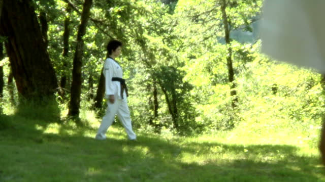 der kampf – track rechts breite schuss - karate stock-videos und b-roll-filmmaterial