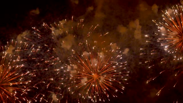 the fireworks in the night sky - petardo video stock e b–roll