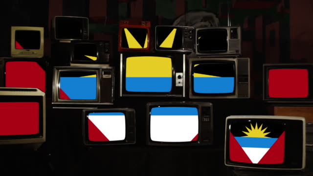 The flag of Antigua and Barbuda and Retro TVs.
