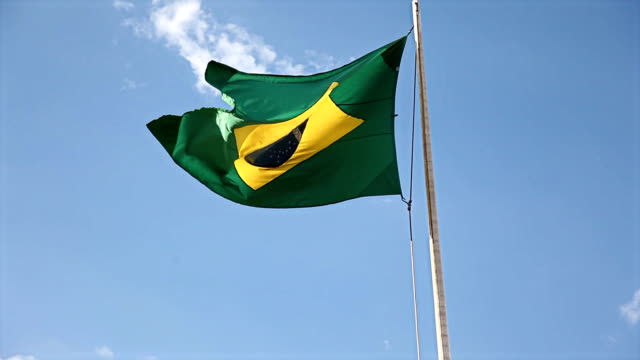 The Flag Of Brazil Waving On The Wind video