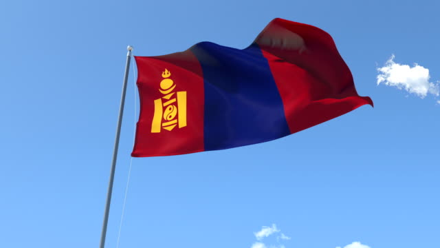 The flag of Mongolia Waving on the Wind. video