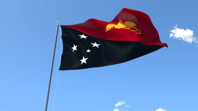 The flag of Papua New Guinea Waving on the Wind. video