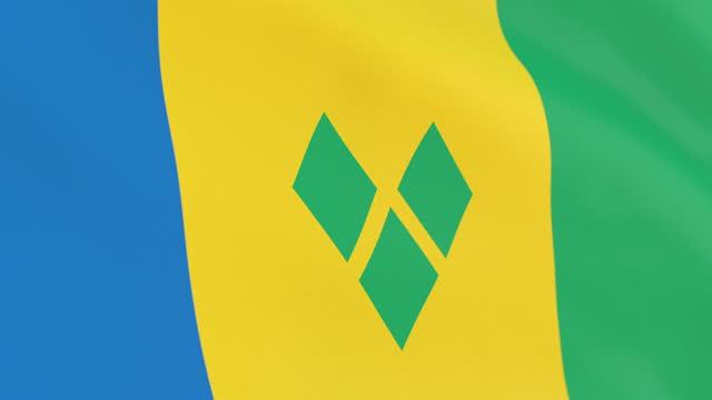 la bandiera di saint vincent e dell'anello grenadine - kingstown video stock e b–roll