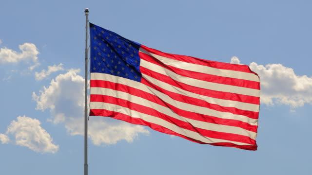 the flag of the united states of american blowing in the wind - bandiera degli stati uniti video stock e b–roll