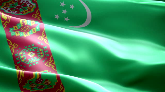 the flag of Turkmenistan This is the surging effected flag of Turkmenistan turkmenistan stock videos & royalty-free footage