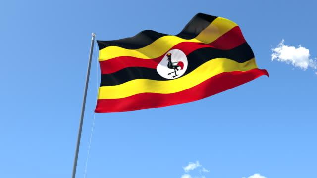 The flag of Uganda Waving on the Wind video