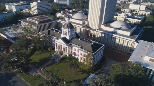 The Florida State Capitol, Tallahassee.  Aerial drone video with the cinematic orbit and tilting-up camera motion.