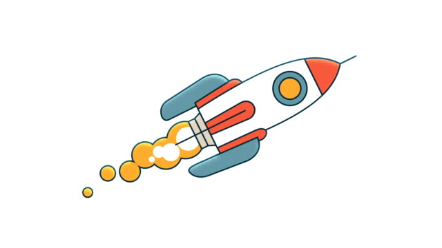 The flying rocket rotates around its axis