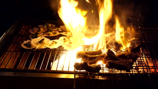 the food on the grill in flames video