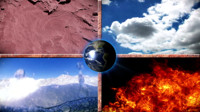 The four Elements - Earth, Water, Air and Fire Concept Background depicting the four Elements - Earth, Water, Air and Fire. Could be for Environmental, Weather, Geo-political, Travel, Adventure or New Age Projects. the four elements stock videos & royalty-free footage