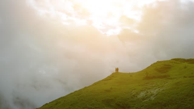 美しい雲の景色を望む山の上に立つ4人 - 崖点の映像素材/bロール