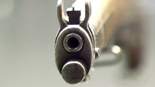 The front of a shot gun in display