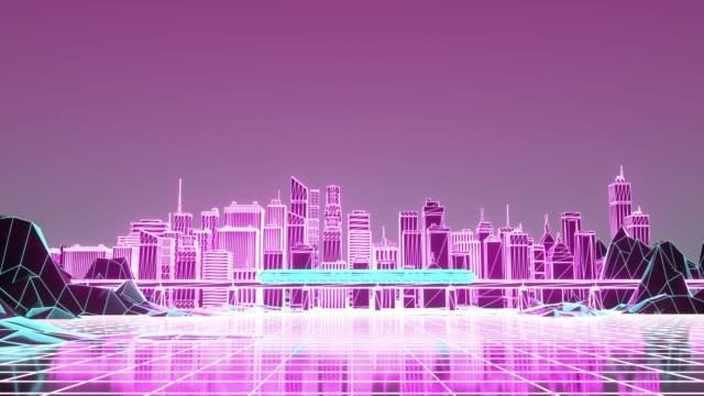 The futuristic neon night city, train traffic on the railway bridge