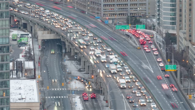 The Gardiner Expressway before the sunset 4K Timelapse Sequence of Toronto, Canada - The Gardiner Expressway before the sunset ontario canada stock videos & royalty-free footage